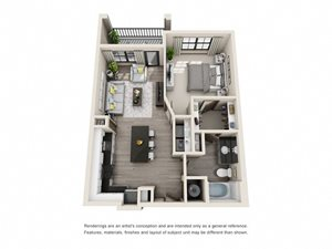 The Oatts 3D. 1 bedroom apartment. Kitchen with island open to living room. 1 full bathroom. Walk-in closet. Patio/balcony.