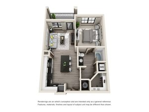 The Palm 3D. 1 bedroom apartment. Kitchen with island open to living room. 1 full bathroom. Walk-in closet. Patio/balcony.