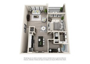 The Pickett 3D. 1 bedroom apartment, 1st floor entry. Kitchen with island open to living room. 1 full bathroom. Walk-in closet. Patio/balcony.
