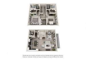 The Shawnee 3D. 2 bedroom townhome. Kitchen with island open to living/dining rooms. 2 full bathrooms + powder room. Walk-in closets. Patio/balcony.