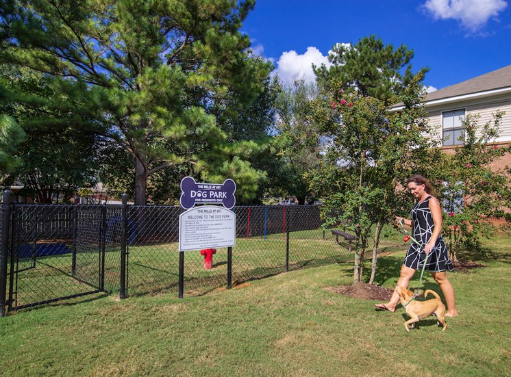 fenced bark park on-site at The Mill at 601 Apartments in Prattville, AL
