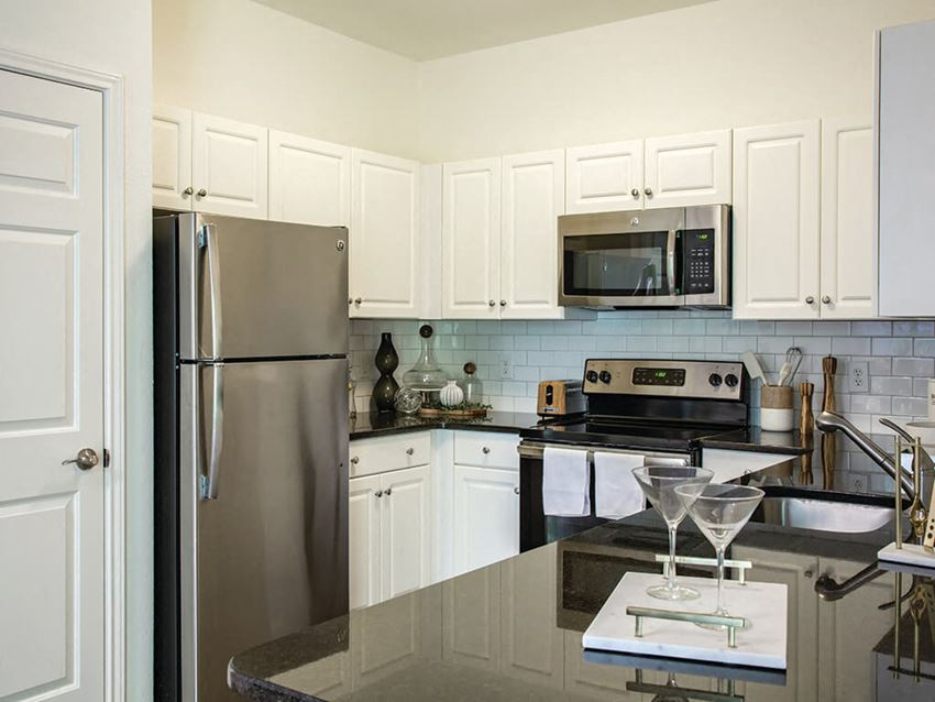 Model kitchen at Heritage on the Merrimack Apartments in Bedford NH