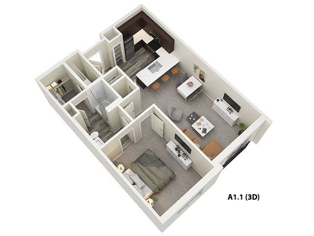 1 Bed 1 Bath (A1) Floor Plan at One Deerfield, Mason, OH, 45040