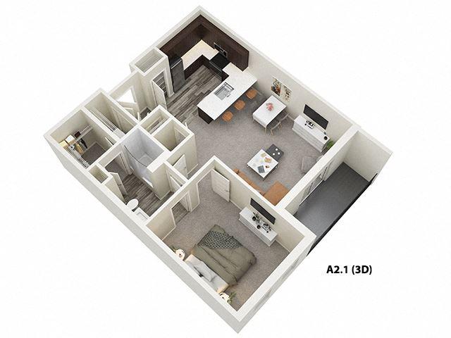 1 Bed 1 Bath (A2) Floor Plan at One Deerfield, Ohio, 45040