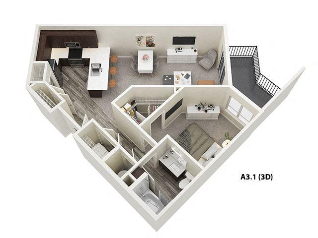 1 Bed 1 Bath (A3) Floor Plan at One Deerfield, Mason