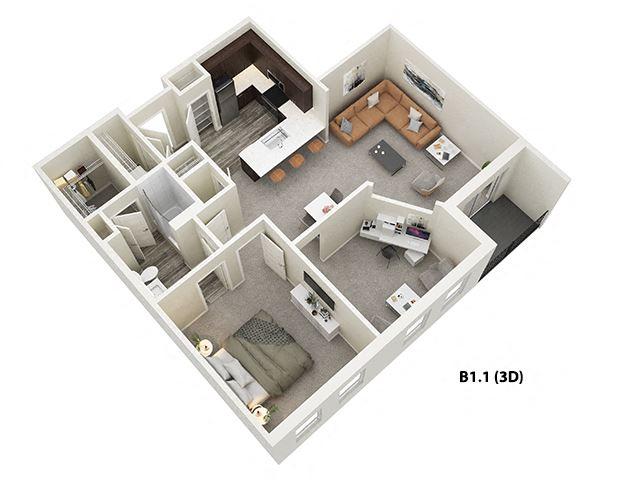 1 Bed 1 Bath + Den (B1) Floor Plan at One Deerfield, Ohio