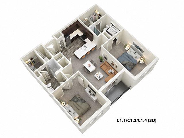 2 Bed 2 Bath  (C1) Floor Plan at One Deerfield, Ohio, 45040
