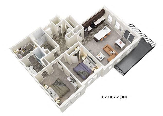 2 Bed 2 Bath (C2) Floor Plan at One Deerfield, Ohio, 45040