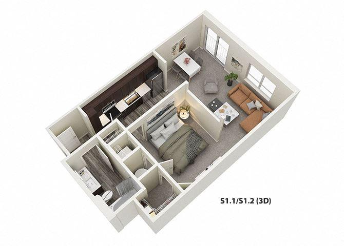 Studio (S1) Floor Plan at One Deerfield, Ohio, 45040
