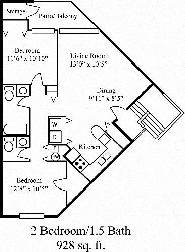 2 Bed 1.5 Bath Floor Plan 1