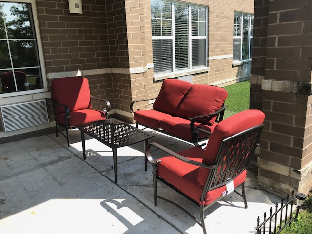 Patio at Lakewood Towers Senior Apartments in Lake Villa, IL