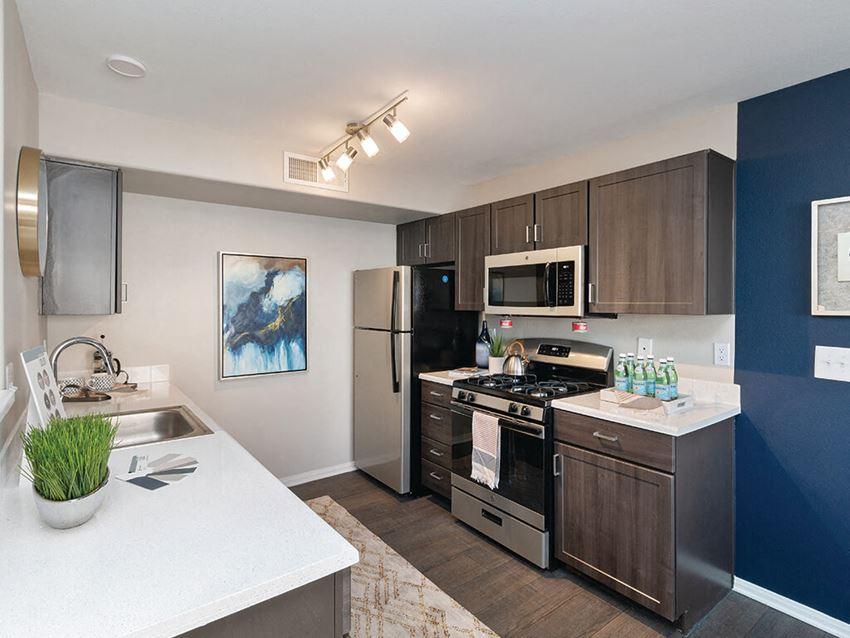 Espresso Finish Model Kitchen at Loma Vista Apartments in North Las Vegas NV