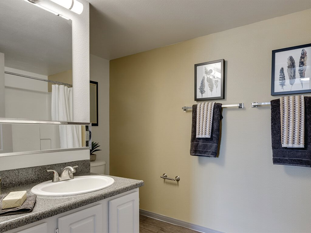 Ivory Finish Model Bathroom  at Loma Vista Apartments in North Las Vegas NV