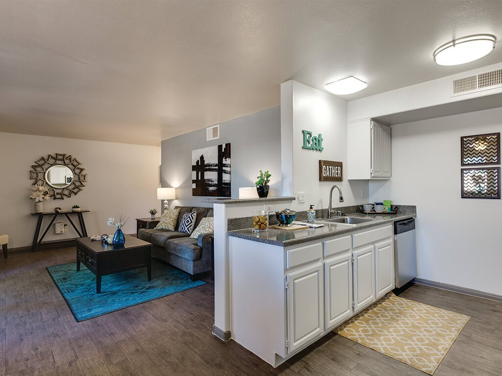 Ivory Finish Model Kitchen looking to Living Room at Loma Vista Apartments in North Las Vegas NV