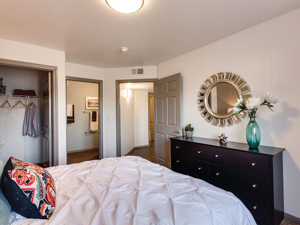 Ivory Finish Model Master Bedroom at Loma Vista Apartments in North Las Vegas NV