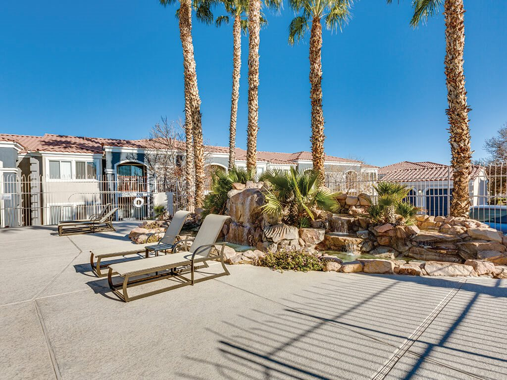 Pool Deck and Fountain at Loma Vista Apartments in North Las Vegas NV