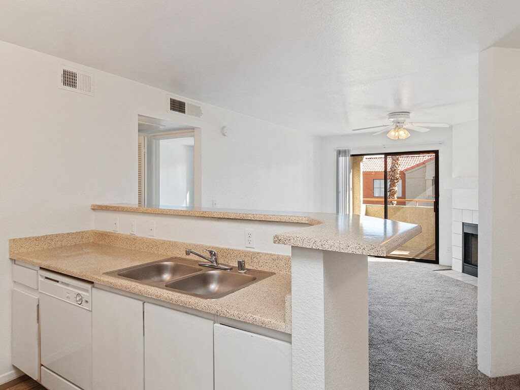 White kitchen at Stonegate Apartments in Las Vegas