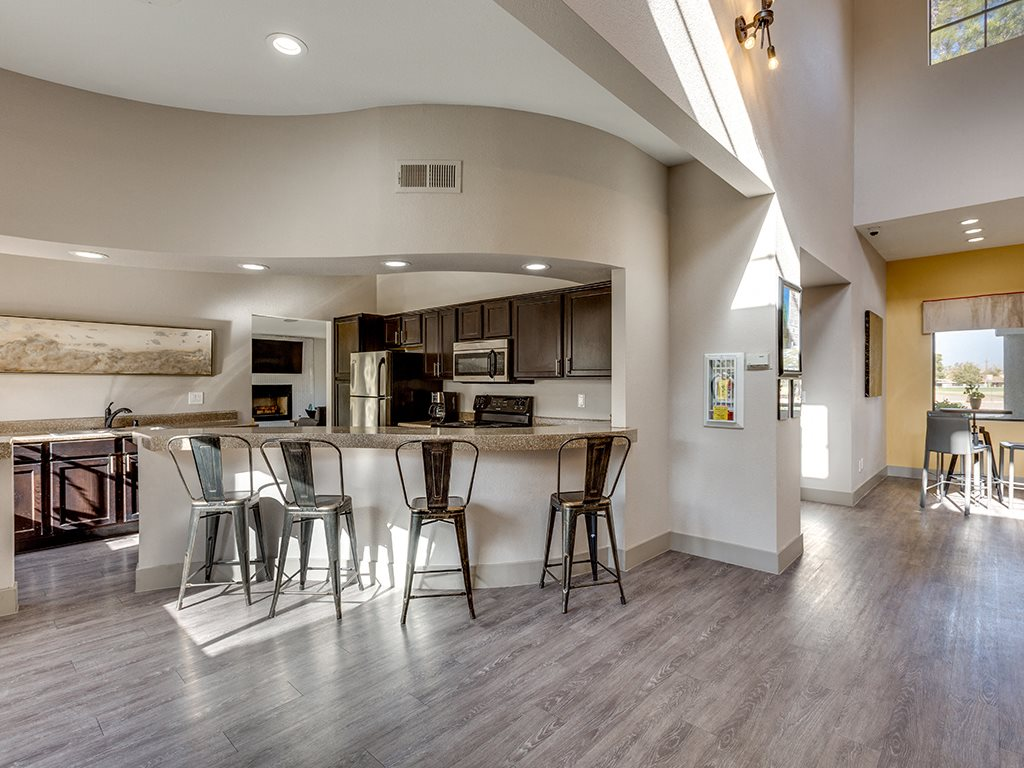 Clubhouse kitchen at Stonegate apartments in Las vegas NV