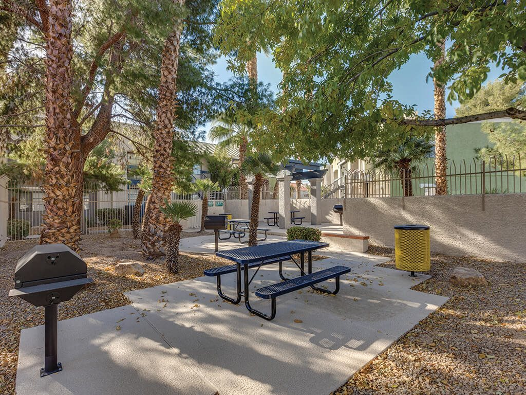 Exterior BBQ area at Viridian Palms Apartments in Las Vegas
