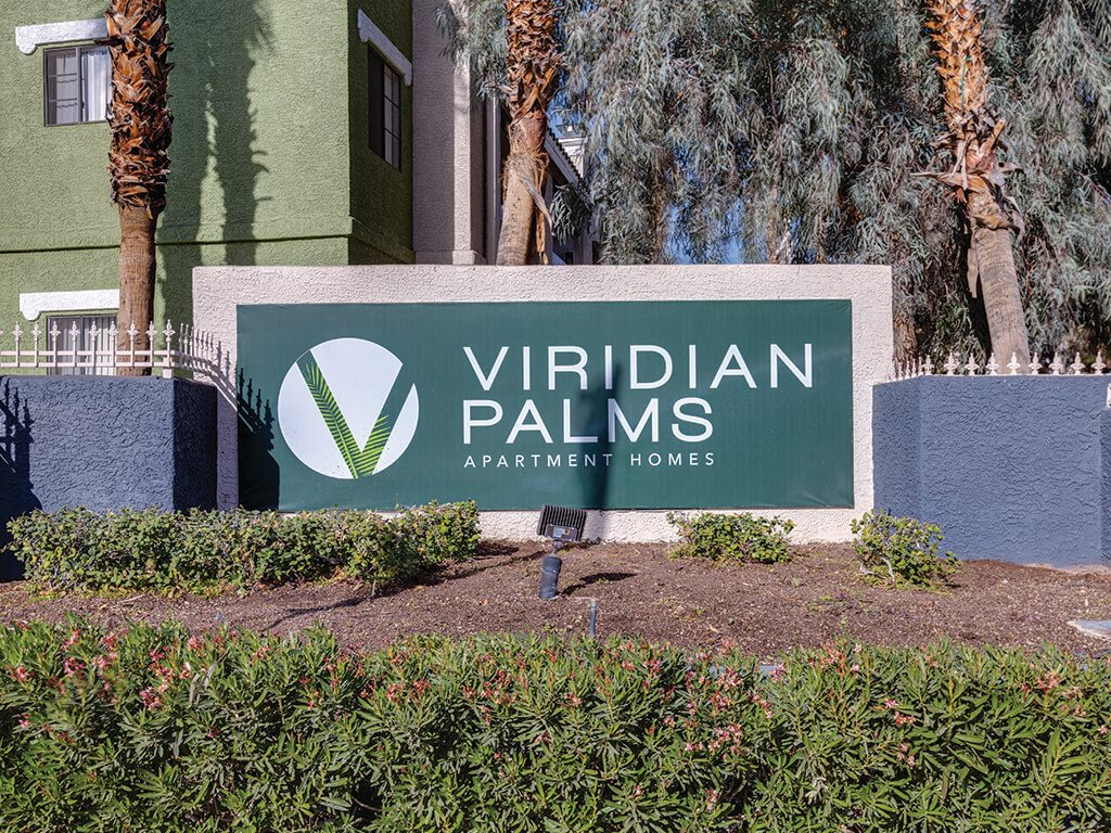 Monument sign at Viridian Palms Apartments in Las Vegas