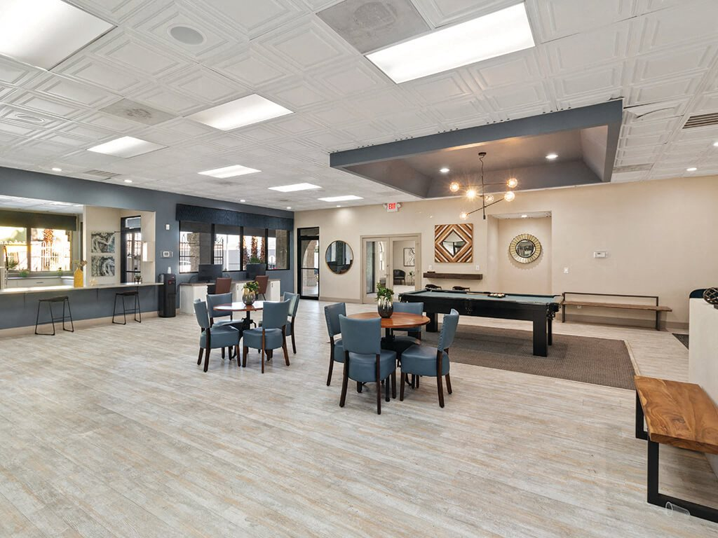 Social lounge space at Viridian Palms Apartments in Las Vegas
