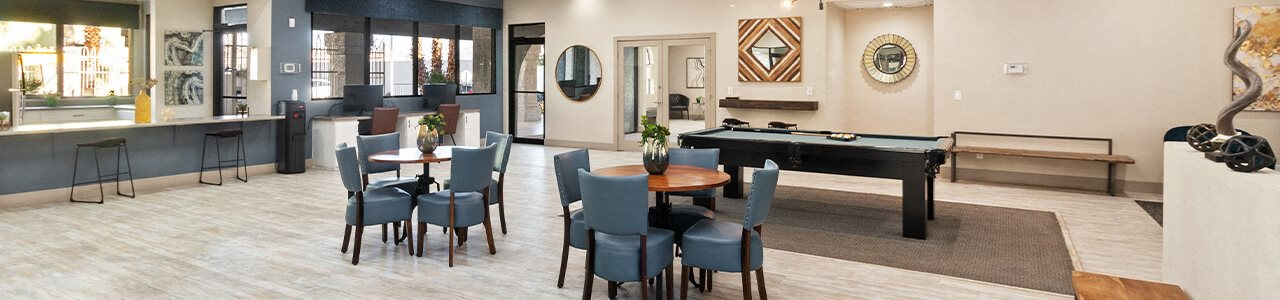 Social space at Viridian Palms Apartments in Las Vegas