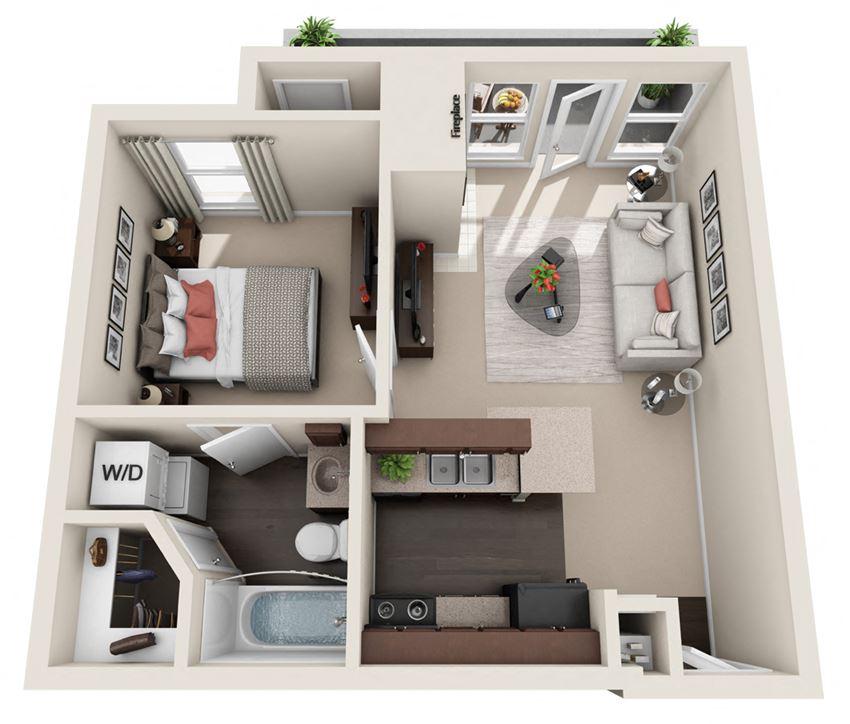 1 BED 1 BATH  513 sq ft