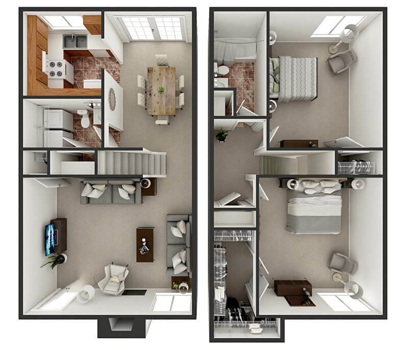 floor plan of two bedroom townhome