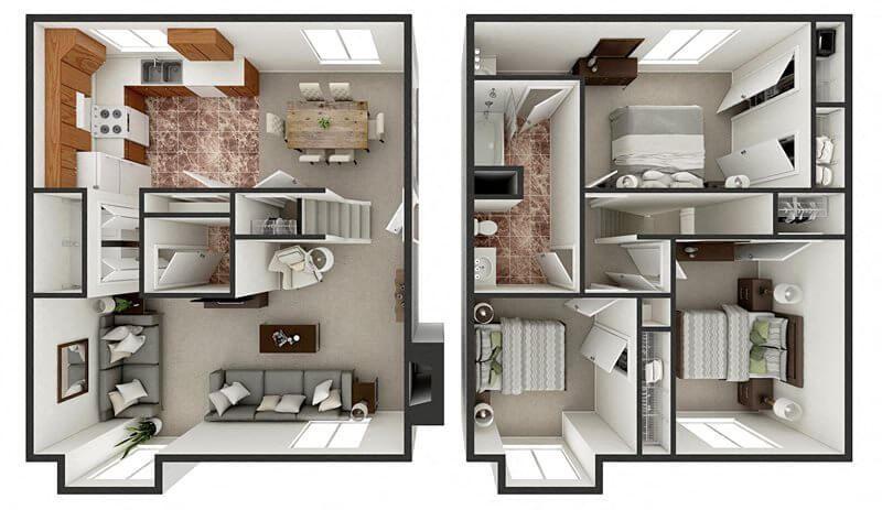 floor plan of 3 bedroom townhouse
