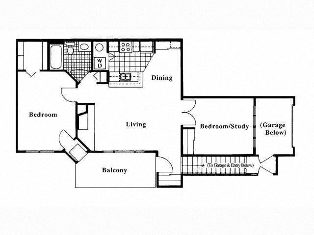 2 Bed 1 Bath Floor Plan at Deer Run Apartments, Brown Deer, Wisconsin