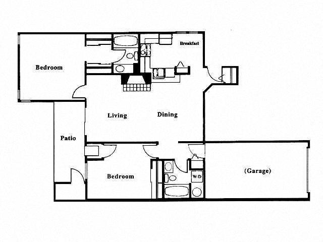 2 Bed 2 Bath Floor Plan at Deer Run Apartments, Brown Deer, WI
