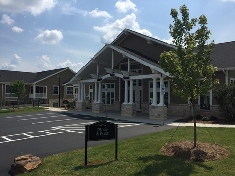 Residential Clubhouse Exterior at Piedmont Place Apartments in Greensboro NC