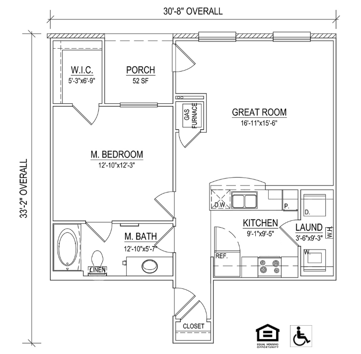 UNIT 1A Layout at Piedmont Place Apartments in Greensboro NC