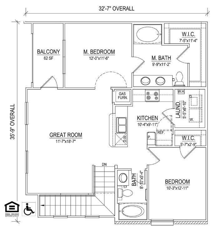 UNIT 2A Layout at Piedmont Place Apartments in Greensboro NC