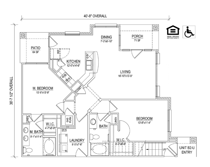 UNIT 2B Layout at Piedmont Place Apartments in Greensboro NC