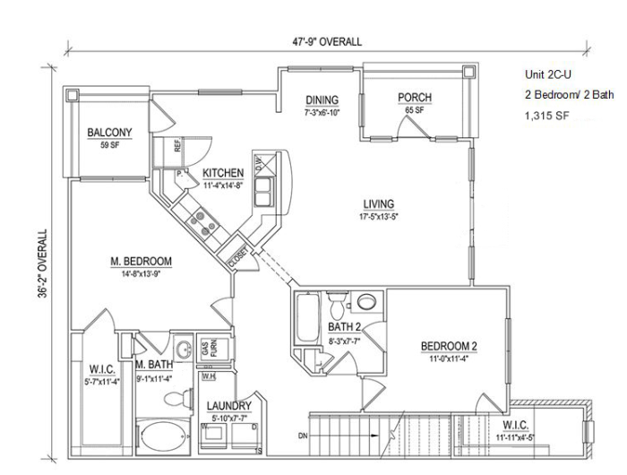 UNIT 2C Layout at Piedmont Place Apartments in Greensboro NC