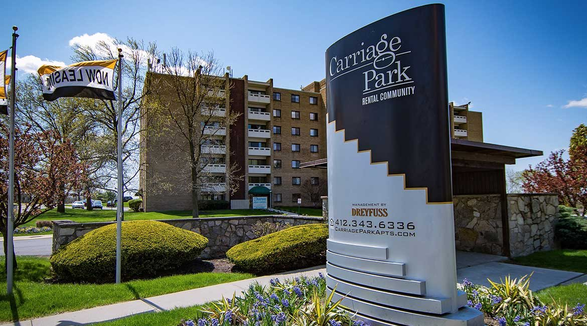 Carriage Park Apartments Entrance Signage