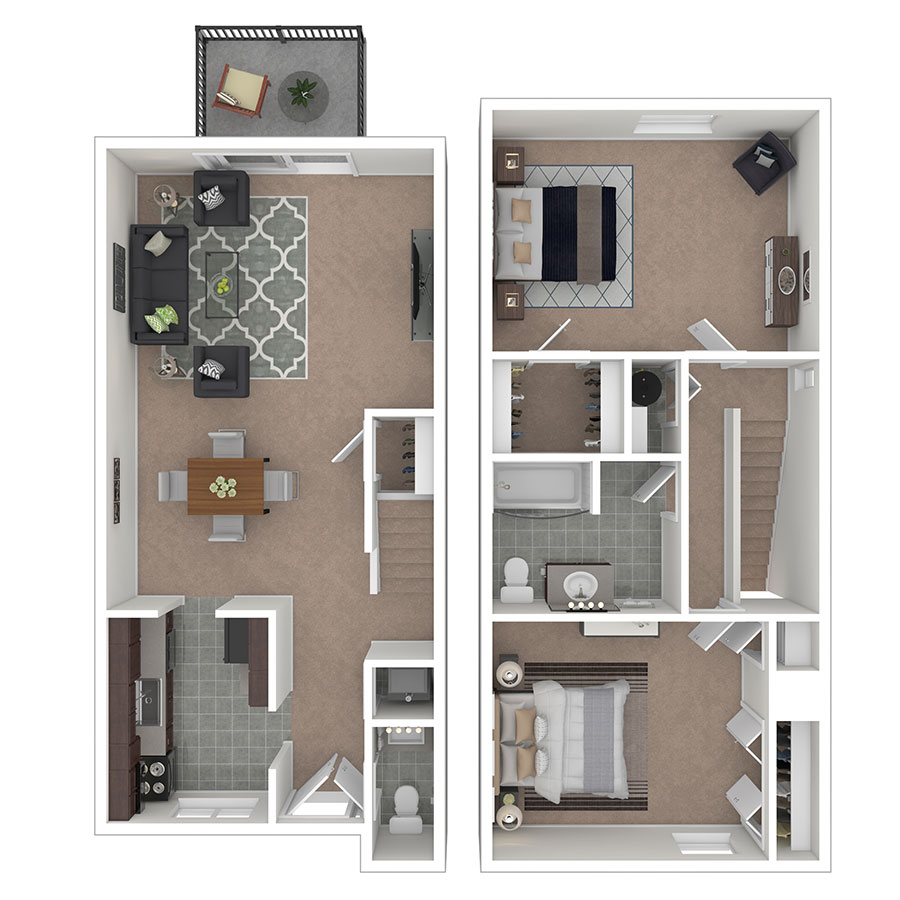 Carriage Park Apartments Two Bedroom Town Home