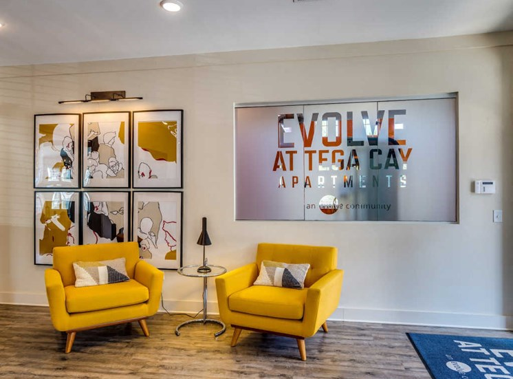 Apartment Entrance with Classy Chairs at Evolve at Tega Cay, South Carolina