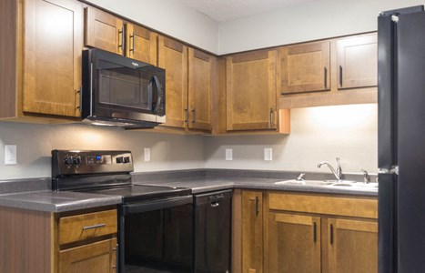 Penn Oaks kitchens offer all new appliances including an induction cooktop, microwave, and dishwasher.