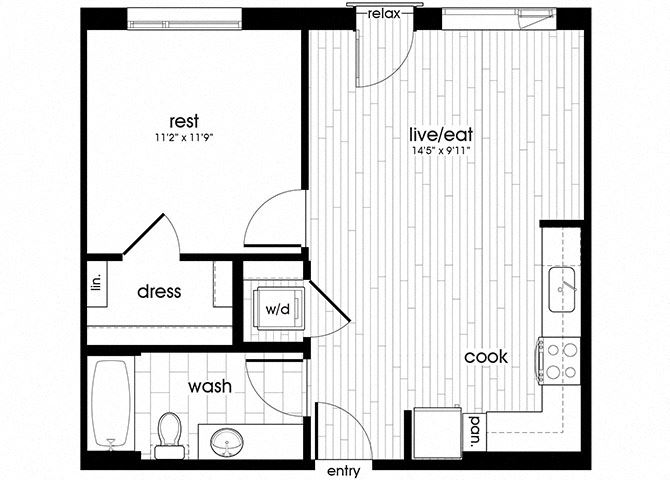 A06 Floorplan for Sandy28 Apartments in Portland, OR