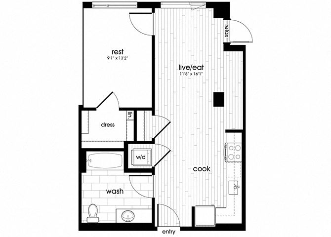 A08 Floorplan for Sandy28 Apartments in Portland, OR