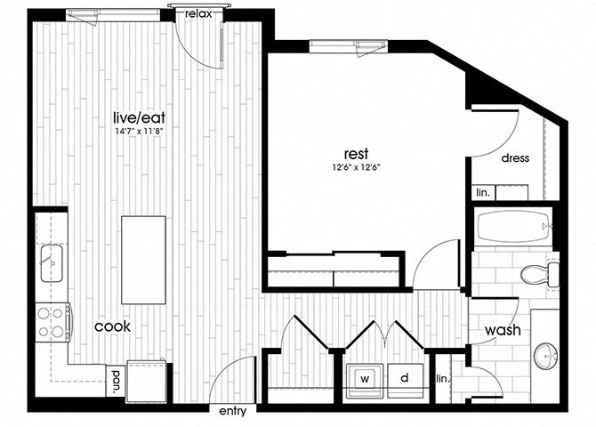 A18 Floorplan for Sandy28 Apartments in Portland, OR