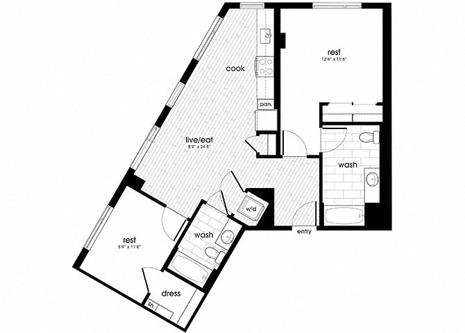 B1 Floorplan for Sandy28 Apartments in Portland, OR