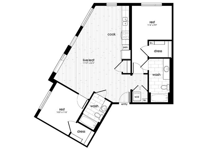 B3 Floorplan for Sandy28 Apartments in Portland, OR