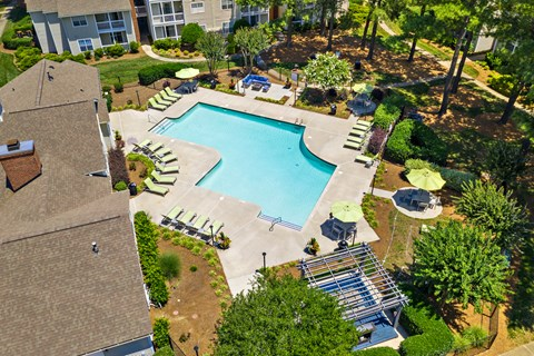 Incredible Bird's Eye View of the Swimming Pool at Avenues at Steele Creek Apartments