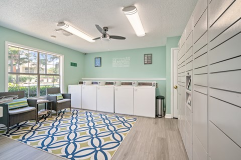 Residential Laundry Center and Package Lockers at Avenues at Steele Creek Apartments