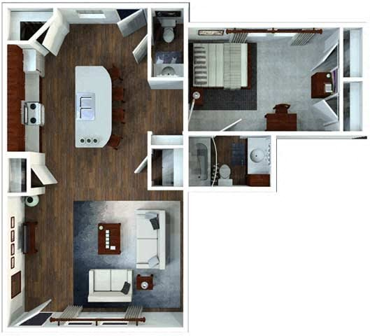 1 Bed  / 1.5 Bath Flat Floor Plan 2