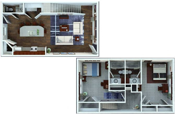 2 Bed / 2.5 Bath Townhome Floor Plan 5