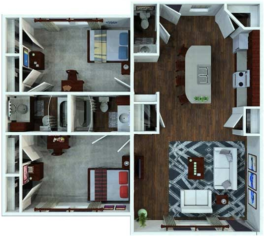 2 Bed / 2.5 Bath Flat Floor Plan 3